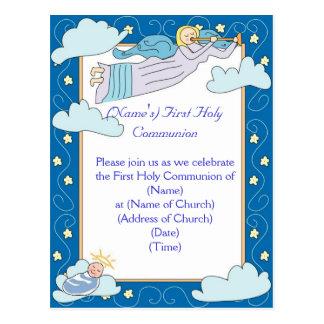 Primera invitación de la comunión santa postal