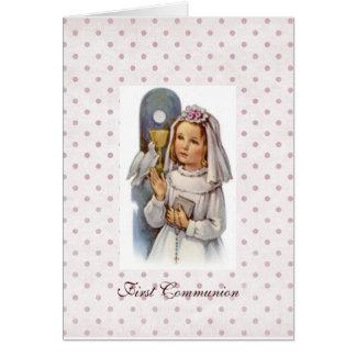 Primera invitación de la comunión tarjeta de felicitación