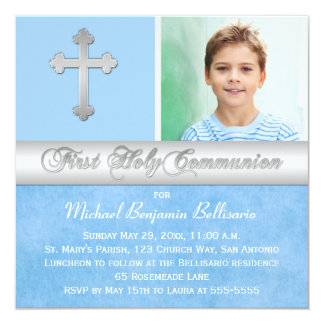 Primera invitación de la foto de la comunión santa invitación 13,3 cm x 13,3cm