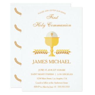 Primera invitación de oro simple de la comunión