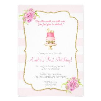Primera invitación del 1r cumpleaños floral rosado