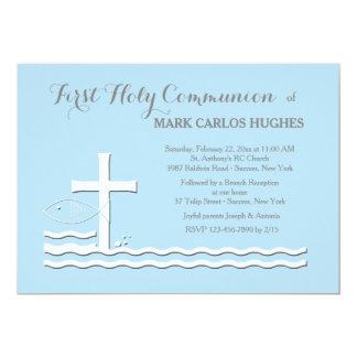 Primera invitación del azul de la comunión invitación 12,7 x 17,8 cm