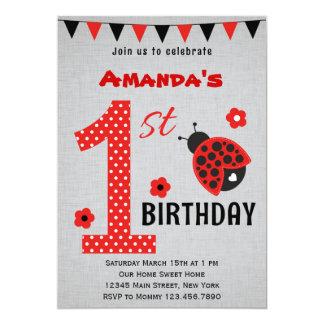 Primera invitación del cumpleaños de la mariquita