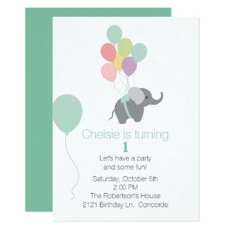 Primera invitación del cumpleaños del elefante y