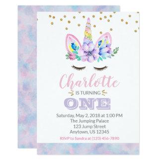 Primera invitación del cumpleaños del unicornio -