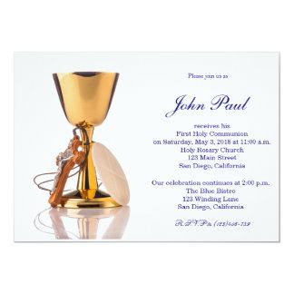 Primera invitación elegante moderna de la comunión