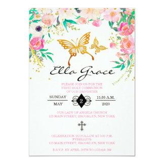 Primera invitación floral elegante de la comunión