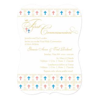 Primera invitación gemela de la comunión del invitación 12,7 x 17,8 cm
