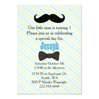 Primera invitación rayada bigote del cumpleaños