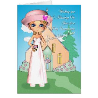 Primera niña de la comunión santa de la nieta y tarjeta de felicitación