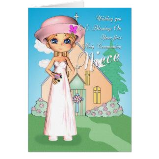 Primera niña e iglesia de la comunión santa de la tarjeta de felicitación
