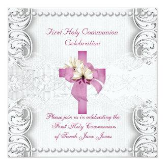 Primera perla del rosa del cordón de la plata de invitaciones personalizada