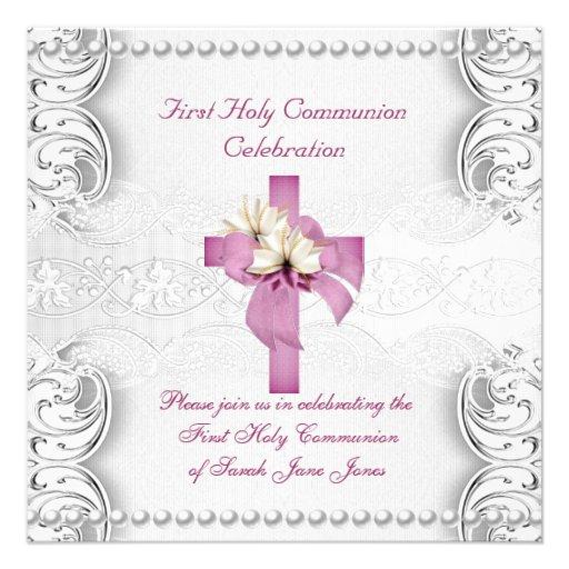 Primera perla del rosa del cordón de la plata de l invitaciones personalizada