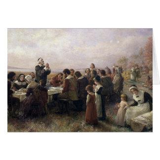 Primera pintura del vintage de la acción de gracia tarjeta de felicitación