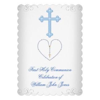 Primera plata azul blanca de la comunión santa del