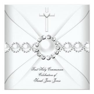 Primera plata blanca 2 de la comunión santa del invitacion personal