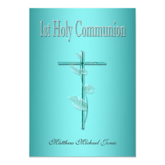 Primera plata del azul de la comunión santa invitación 12,7 x 17,8 cm