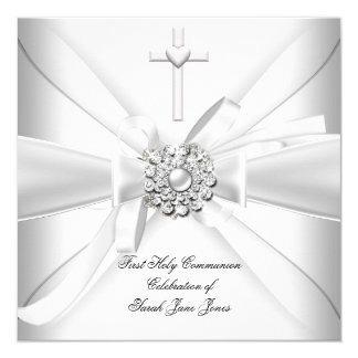 Primera plata del blanco de la comunión santa del invitación 13,3 cm x 13,3cm