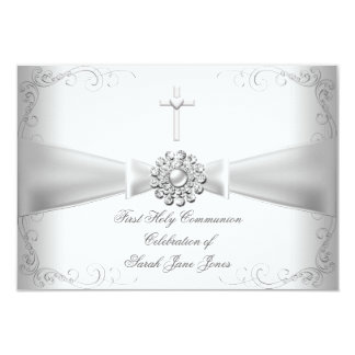 Primera plata del blanco de la comunión santa del invitación 8,9 x 12,7 cm