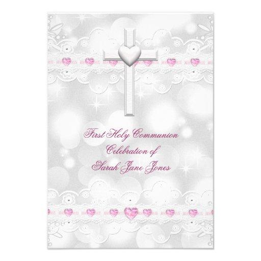 Primera plata del blanco de la comunión santa del  invitacion personalizada