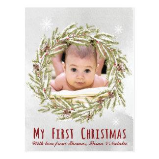 Primera postal del navidad del bebé con la foto