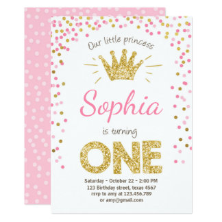 Primera princesa Gold Pink de la invitación del
