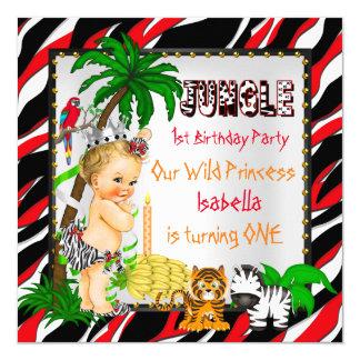 Primera princesa salvaje Blonde del safari de Invitación 13,3 Cm X 13,3cm