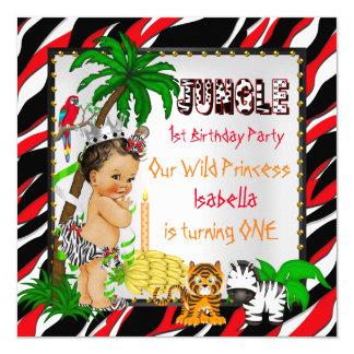 Primera princesa salvaje Brown del safari de selva Invitación 13,3 Cm X 13,3cm