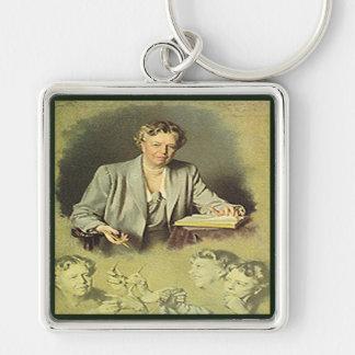 Primera señora Ana Eleanor Roosevelt Llavero Cuadrado Plateado