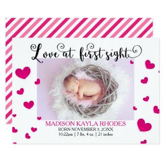 Primera Sight-3x5Birth invitación de los corazones