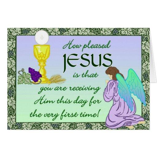 Primera tarjeta de la comunión santa