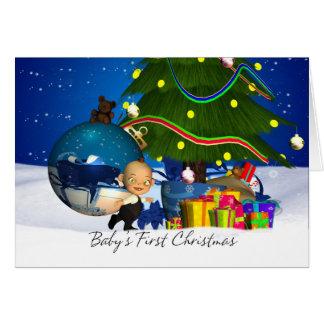 Primera tarjeta de Navidad del bebé con el pequeño
