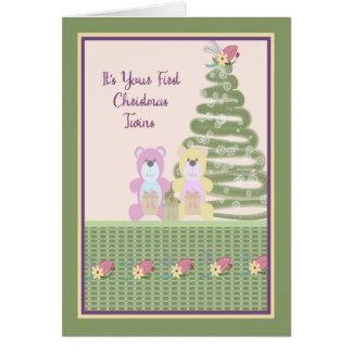 Primera tarjeta de Navidad para los gemelos con