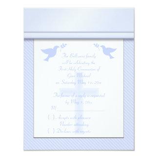 Primera tarjeta de RSVP de la comunión santa de la Invitación 10,8 X 13,9 Cm