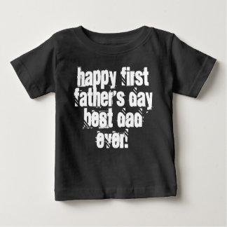 Primera tipografía feliz del papá del día de padre camiseta de bebé