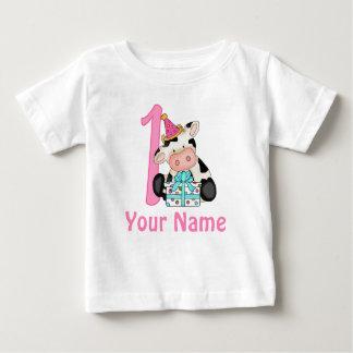 Primera vaca del rosa del chica del cumpleaños camiseta de bebé