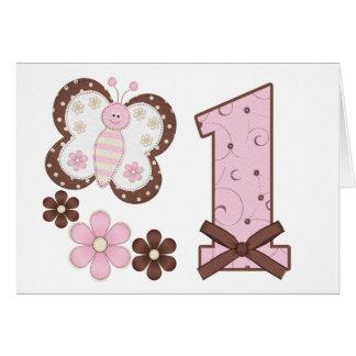 Primeras invitaciones del cumpleaños de la maripos tarjeta pequeña