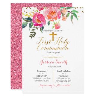 Primeras invitaciones florales de la comunión