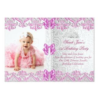 Primero 1ra foto del rosa de la lila de los chicas invitación 12,7 x 17,8 cm