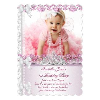 Primero 1ra princesa Pink Photo de la chica Invitación 12,7 X 17,8 Cm