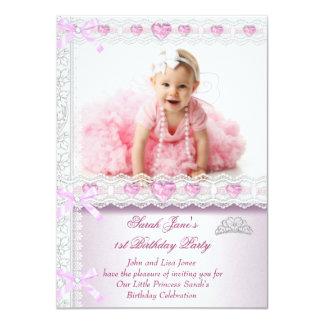 Primero 1ra princesa Pink Photo de las chicas Invitación 11,4 X 15,8 Cm