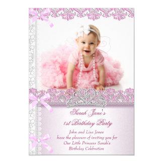 Primero 1ra princesa Pink Photo de las chicas Invitación 12,7 X 17,8 Cm