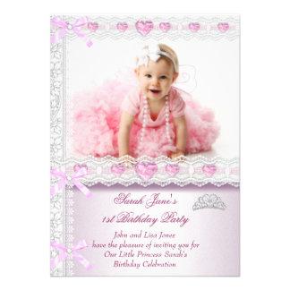 Primero 1ra princesa Pink Photo de las chicas marc Invitaciones Personales