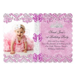 Primero 1ra tiara de la foto del rosa de la lila invitación 12,7 x 17,8 cm
