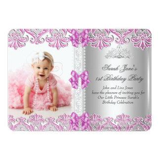 Primero 1ra tiara Si de la foto del rosa de la Invitación 12,7 X 17,8 Cm