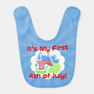 Primero 4to del bebé azul colorido de julio babero