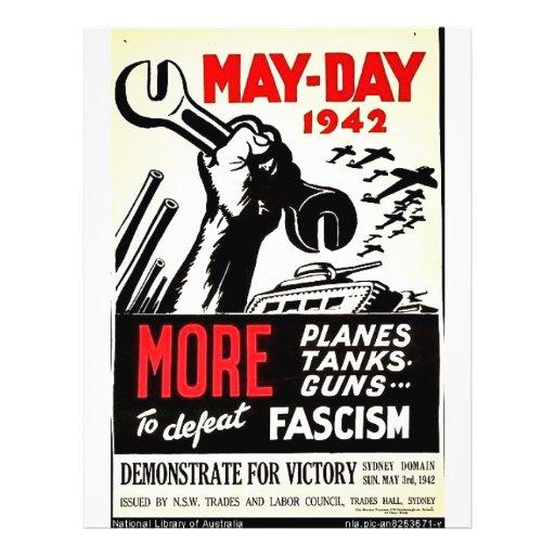 Primero de mayo 1942 más a la derrota tarjetas publicitarias