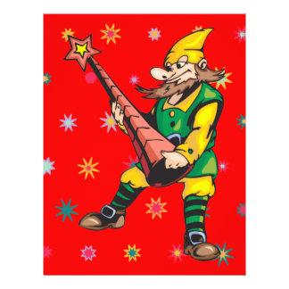 Primero del duende y del árbol de navidad tarjetón