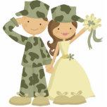 Primero del pastel de bodas del soldado y de la no escultura fotografica