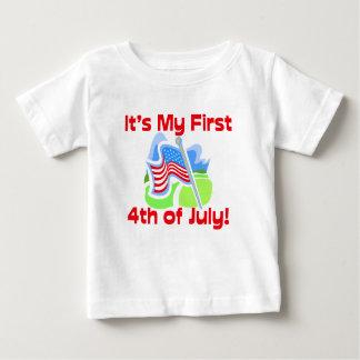 Primero el 4 de julio, camiseta linda del bebé